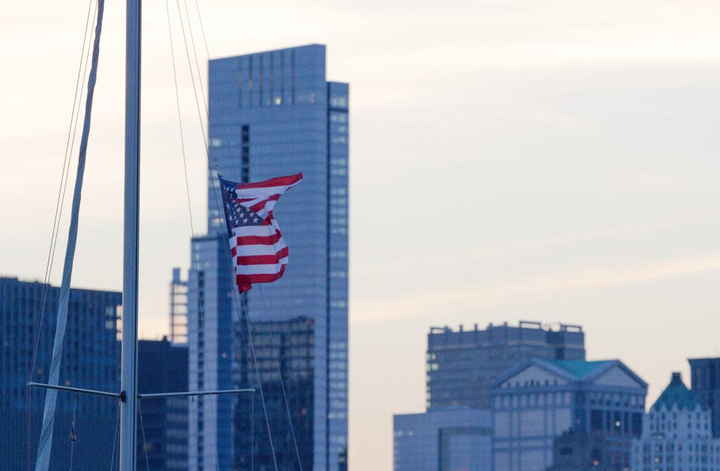 American Flag + Chicago Skyline
