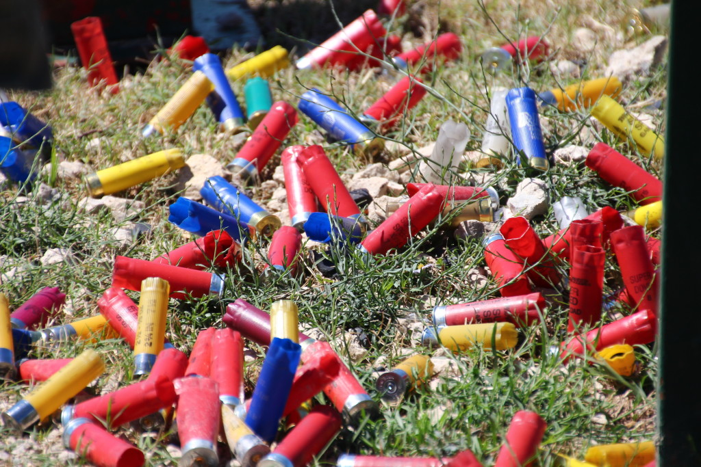 Spent shotgun shells at a shooting range in North Texas. Photo: David Tribble